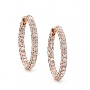 Rose Gold Three Sided Inside-Out Diamond Hoop Earrings
