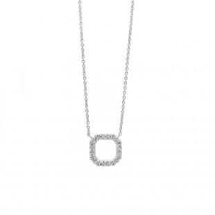 White Gold Diamond Open Square Necklace