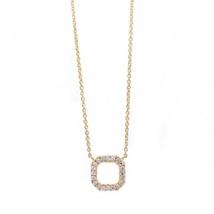 Yellow Gold Diamond Open Square Necklace