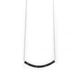 White Gold Curved Bar Black Diamond Necklace
