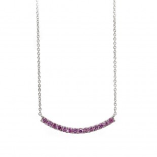 White Gold Curved Bar Pink Sapphire Necklace