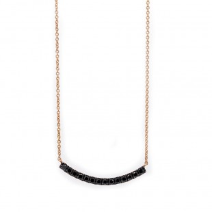 Rose Gold Curved Bar Black Diamond Necklace