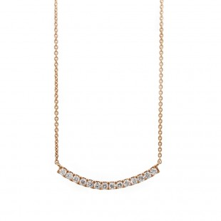 Rose Gold Curved Bar Diamond Necklace