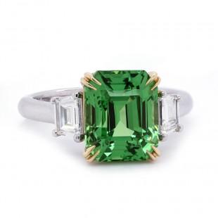 Tsavorite Garnet Three Stone Ring