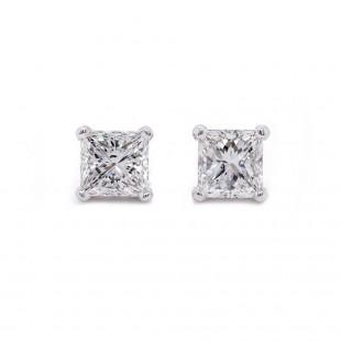 Princess Cut Diamond Stud Earrings 1.62 t.c.w