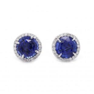 Sapphire Halo Stud Earrings