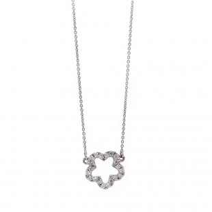 White Gold Diamond Flower Necklace