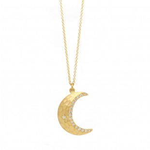 Marika Yellow Gold and Diamond Moon Pendant