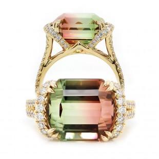 Bi-Color Tourmaline Custom Made Ring