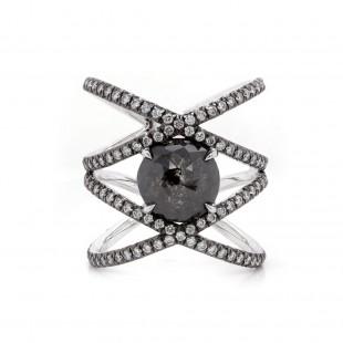 Rustic Diamond Criss Cross Ring