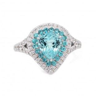 Paraiba Tourmaline Pear Halo Ring
