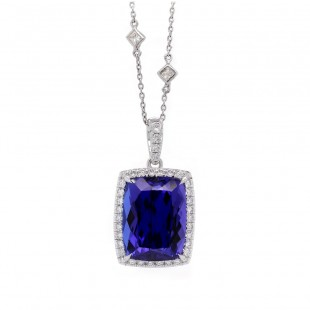Cushion Tanzanite Halo Pendant