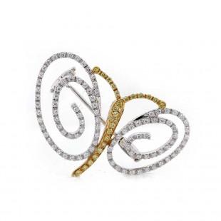 Estate Butterfly Diamond Brooch Pin