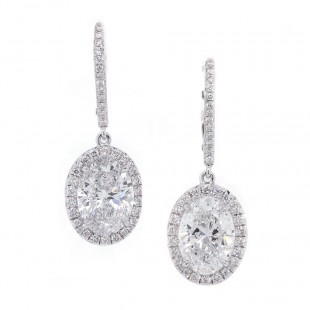 Oval Diamond Halo Drop Earrings