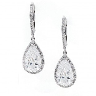 Pear Diamond Halo Drop Earrings