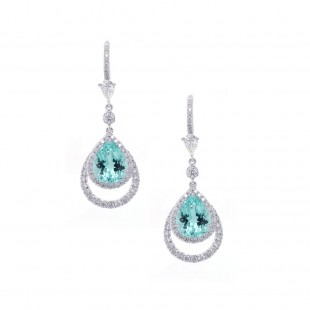 Paraiba Tourmaline Halo Drop Earrings