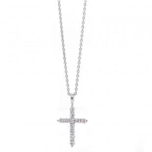 White Gold Diamond Cross Necklace .30 ct twt