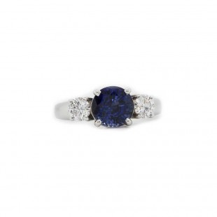 Estate Blue Sapphire Three Stone Ring