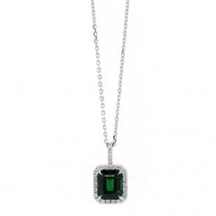 Tsavorite and Diamond Halo Pendant