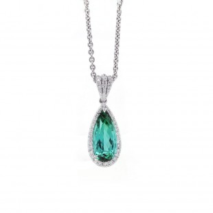Pear Tourmaline Halo Drop Pendant