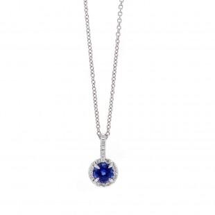 Blue Sapphire Halo Pendant