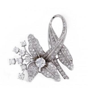 Estate Diamond Brooch Pin