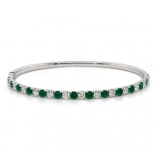 Emerald and Diamond Bangle Bracelet
