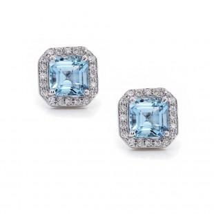 Asscher Cut Aquamarine Halo Earrings
