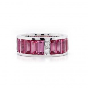 Pink Spinel Channel Set Band