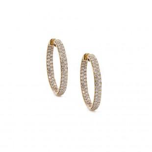 Yellow Gold Inside Out Diamond Hoop Earrings 20mm