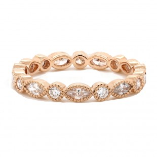 Marquise and Round Diamond Mligrain Band