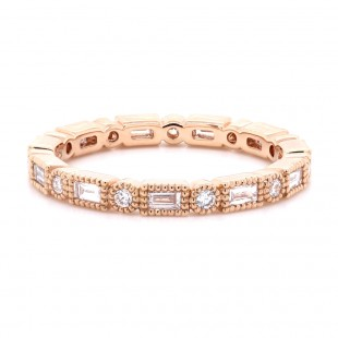 Baguette and Round Brilliant Bezel Diamond Ring