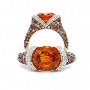 "Orange Sapphire ""Autumn Dreams"" Ring"