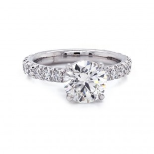 Diamond Engagement Ring French Pave Band