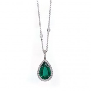 Pear Emerald Halo Pendant