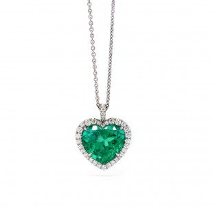 Heart Emerald Halo Pendant