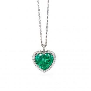 Heart Emerald Halo Pendant