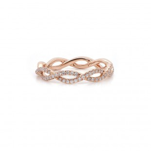 Rose Gold Twisted Diamond Band