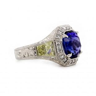 Estate Tanzanite Engraved Ring