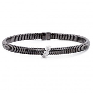 Black Rhodium Diamond Bangle Bracelet
