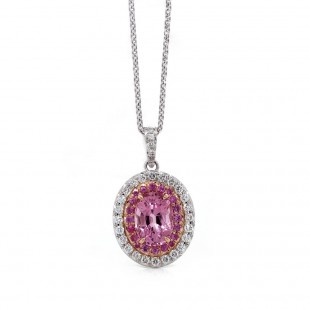 Pink Spinel Halo Pendant