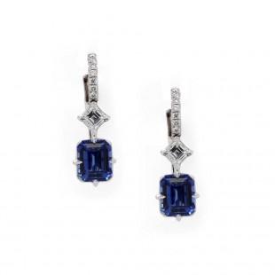 Emerald Cut Sapphire Drop Earrings