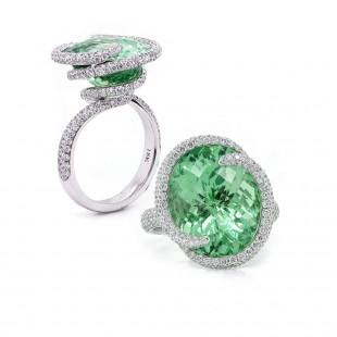 Mint Garnet Swirl Ring
