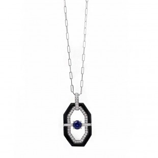 Deco Style Sapphire Onyx & Diamond Pendant