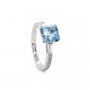 Asscher Cut Aquamarine Diamond Ring