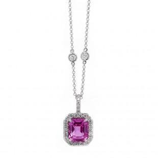 Step Cut Pink Sapphire Halo Pendant