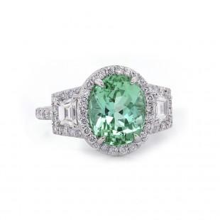 Mint Tourmaline Pave Ring