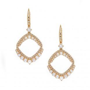 Rose Cut Diamond Chandelier Earrings