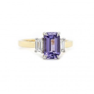 Purple Sapphire Three Stone Ring