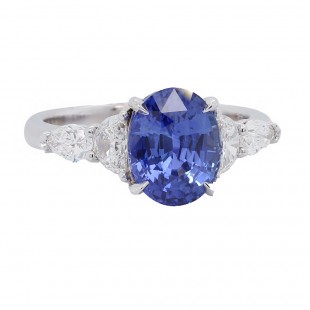 Sapphire Ring with Half Moon and Pear Diamonds